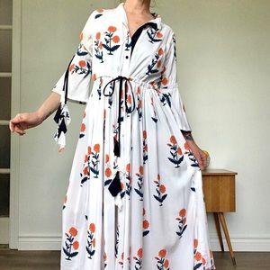 White Bell Sleeve Boho Floral Maxi Dress